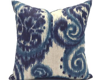 Blue Outdoor Pillows ANY SIZE Outdoor Cushions Outdoor Pillow Covers Decorative Pillows Outdoor Cushion Covers Richloom Sorista Indigo