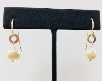 Freshwater Pearl Hand Forged Sterling Dangle Earrings