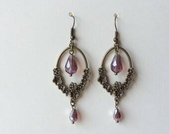 Amethyst teardrop earrings - February birthstone - Bronze oval earrings - Vintage Style - Bronze flower - Dangle drop - Birthday gift