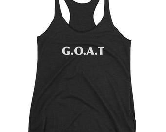Goat Goat Signs Goat Charm Goat Art Print Goat Lover Design Goat Life Goat Love Gift Women's Racerback Tank