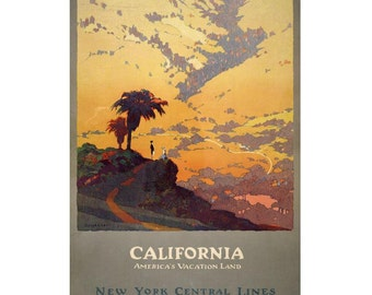 California - America's Vacation Land Vintage Canvas Travel Poster Giclee Art Print Gallery Wrapped