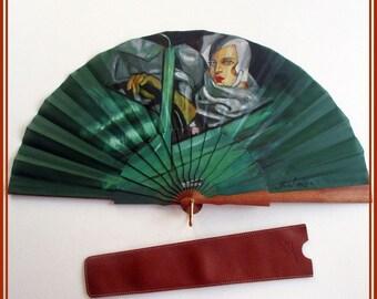 Abanico pintado Tamara de Lempicka Autorretrato Abanico español madera con funda Regalo amante arte Art Decó Tamara de Lempicka abanicos