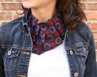 Necktie Necklace - Women's Scarf Made from Vintage Tie - Burgundy and Blue Lauren Scarf. 21