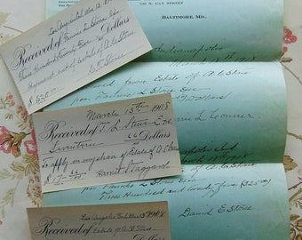 1918 Antique Letter and Bank Receipts