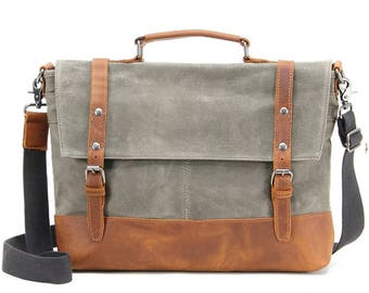 """Laptop bag Cuxhaven 14 """"made of canvas and leather"""