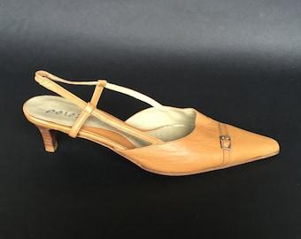 Nude Pointy toe slingback heels 5 cm, Nude pointed toe pumps, leather slingback pumps, elegant comfy small heel wedding sandals, summer