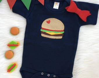 Hamburger baby bodysuit, hand sewn appliqué- personalize with your baby's name!