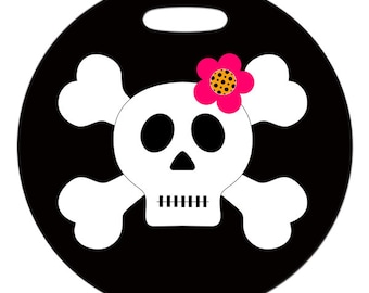 Luggage Tag - Skull and Crossbones Girl - 2.5 inch or 4 Inch Round Plastic Bag Tag