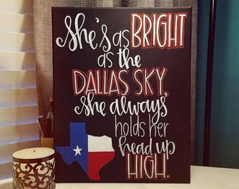 She's like Texas | Hand Painted Canvas | Wall Decoration | Texas Pride Signage | Texas Themed Decoration