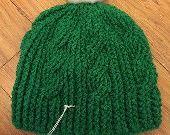 Crocheted Cable Winter Hat