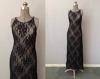 Black Lace Dress Women Small Maxi Long Formal Sleeveless Backless Column Stretch 80s 90s