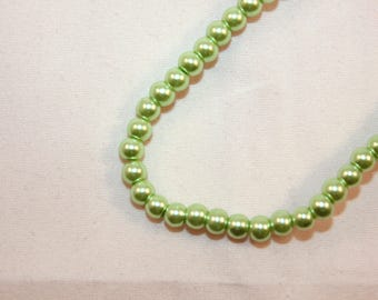 lot 50 round imitation Green Pearl glass beads clear 4 mm (B22117)
