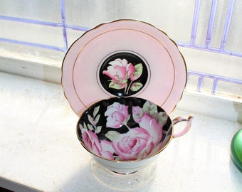 Paragon Tea Cup and Saucer Pink and Black Vintage Bone China