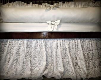 Baby Crib Bedding Ivory Lace