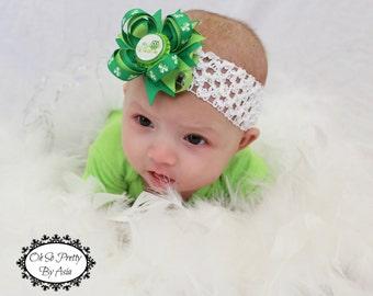 My First St Patricks Day Hair Bow - St Patricks Day Headband - Green Hair Bow - St Pattys Day - Newborn Hair Bow - Infant Baby Headband