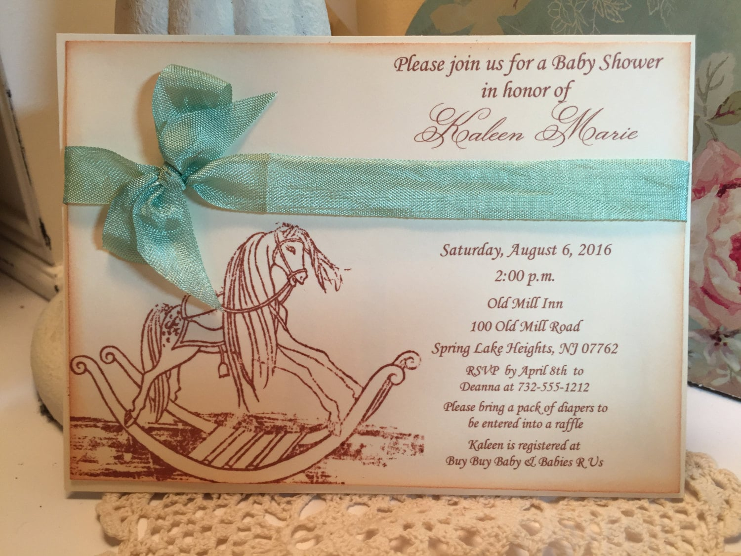 Lovely Rocking Horse Baby Shower Invitations Contemporary ...