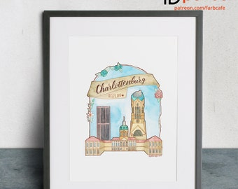 Berlin's districts 'Cityscapes' no. 2 Charlotte Castle (digital download, print template), watercolour, illustration