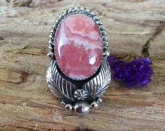 Rhodochrosite Ring/ Artisan Handmade/ Sterling silver/ Southwestern Jewelry/ size 8