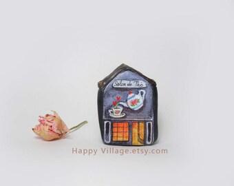 Tea Room,Salon de Thé,Mini Shop,miniature clay house,tiny house,small ceramic house,home decor,housewarming gift,fairy house,tiny home