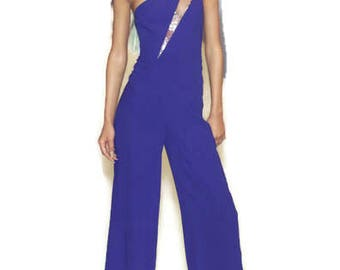 runway vintage mugler jumpsuit, mugler romper vintage mugler plunge neck designer jumpsuit couture jumpsuit runway mugler, palazzo jumpsuit