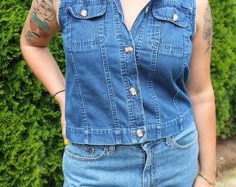 Vintage Cropped Denim Vest Top