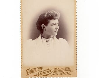 Pretty young woman, antique cabinet card photo