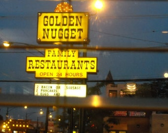 Chicago Photography, GOLDEN NUGGET, mid century vintage neon sign, breakfast, restaurant, diner, yellow, pancakes, bacon, Signed Print