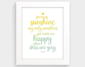 You are my sunshine wall art, nursery print, kids room decor, kids illustration, child art, cute print, typographic print, yellow nursery