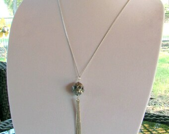 Delicate silver tassel necklace