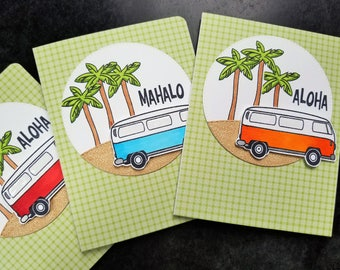 Hawaii Thank You Cards Set of 3, Mahalo Cards, Aloha, Summer Thank You Notes, VW Bus, Hippy Cards Set, Gift for Traveler, Vanagon Bus