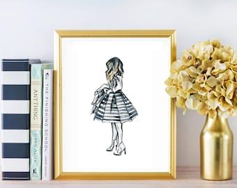Girl in Stripes No.167 Fashion Illustration Watercolor Print Designer Clothing Decor Wall Art Girly Art Teens Wall Art Fashion Girl Print