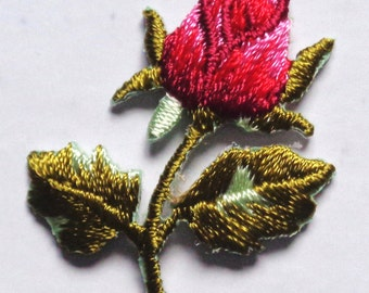 Embroidered Iron-On Applique Rosebud Flower, 1+1/4 x 1+1/2 inch