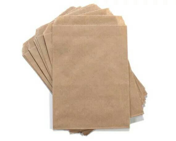 6 1 4 X 9 Flat Kraft Brown Paper Bags Gift Loot WeddingMerchandise Bag Candy Printed Back 25 50