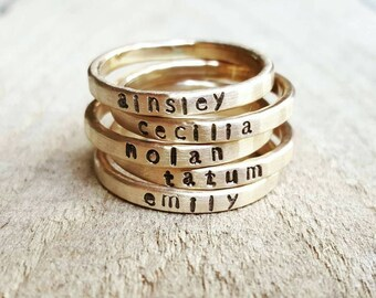 Personalized Hammered Stacking Skinny Name Ring in 14K gold, Gold Stacking ring, Gold name ring, Custom Stackable Name Ring, Gift for Mother