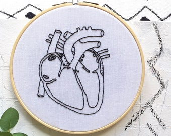 Anatomical Heart Embroidery Hoop Art. Modern Embroidery. Wall/Home Decor. Embroidery Art. Handmade Human heart Embroidery. Art. Heart gift