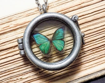 Green and Silver Butterfly Locket Necklace
