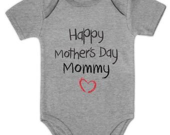Happy Mother's Day Mommy Baby Short Sleeve Onesie Bodysuit