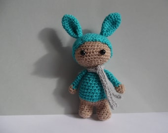 Little plush amigurumi snowman rabbit 14cm hook