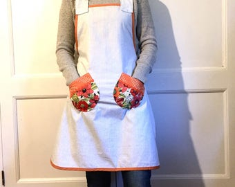 Apron - 100% Cotton Apron for Women - one size fits most- Kitchen Hostess- orange flowers