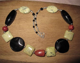 Sterling Silver Multi Agate Marble Gemstones Large Heavy Stones Necklace (2616)