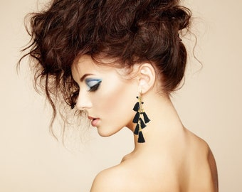 Black gold Tassel earrings long Tassel earrings,festival jewelry-fringe-Boho Bohemian Gypsy jewelry-Coachella earrings