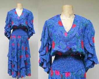 Vintage 1980s Dress/ 80s Susan Freis Blue Floral Gypsy Dress / Small - Medium
