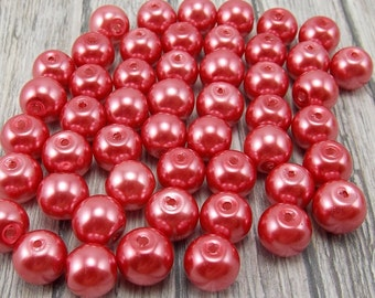 4mm Glass Pearls - Cranberry Pink - 100 pieces - Dark Coral - Watermelon