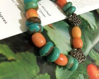 vintage coral turquoise silver beads strech bracelet (SB17)