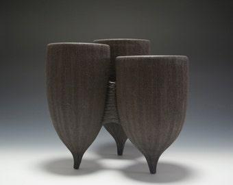 S O L D --Handmade Stoneware Tripod Cluster Vessel Planter 16-012