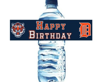 Detroit Tigers Water Bottle and Party Favor Tags