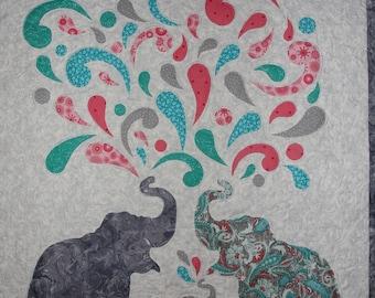 Elephant Splash Time,crib,cotton,multi-colors,modern