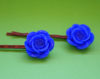 Dark Blue Flower Bobby Pins - Acrylic Floral Cabochon Hair Pins