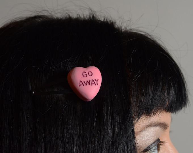 Gothic Lolita Candy Heart Pendant single barrette - hair clip Rockabilly Psychobilly