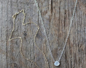 Rainbow Moonstone Teardrop Necklace in Gold or Silver